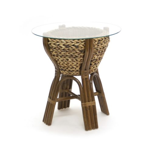 Maui woven end table living room woven rattan tropical casual