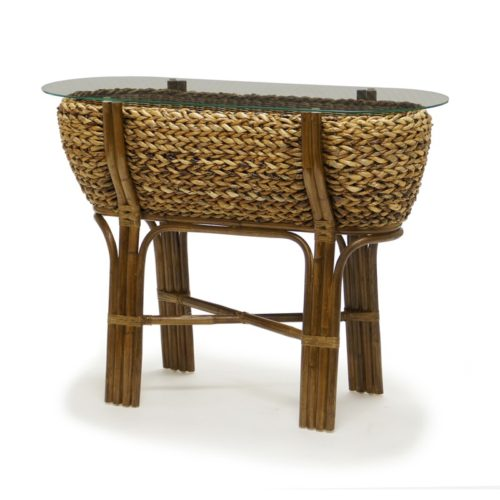 Maui woven console table tropical casual