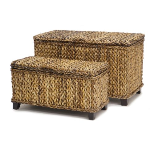 Maui Rectangular trunks woven rattan tropical casual