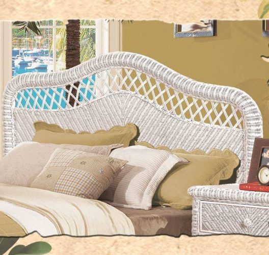Santa Cruz wicker headboard white Wicker Rattan Coastal