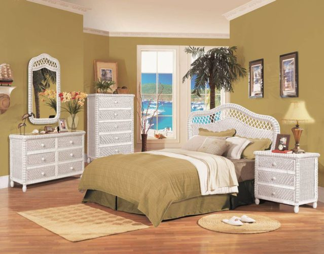 Santa-Cruz Bedroom Furniture white Wicker Rattan Coastal