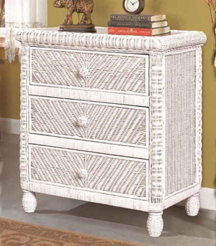 Santa-Cruz chest white Wicker Rattan Coastal