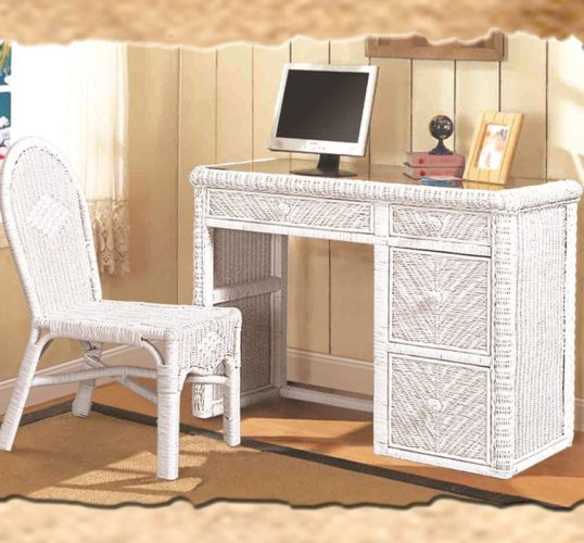 Santa-Cruz desk chair white Wicker Rattan Coastal
