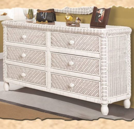 Santa-Cruz dresser white Wicker Rattan Coastal
