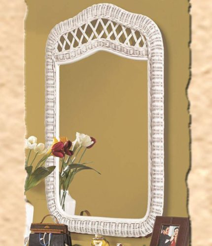 Santa-Cruz mirror white Wicker Rattan Coastal