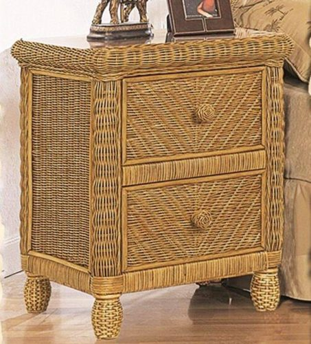 Santa Cruz nightstand Wicker Rattan coastal