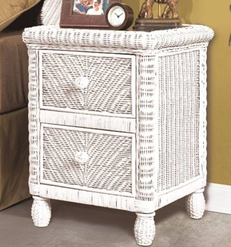 Santa-Cruz nightstand white Wicker Rattan Coastal