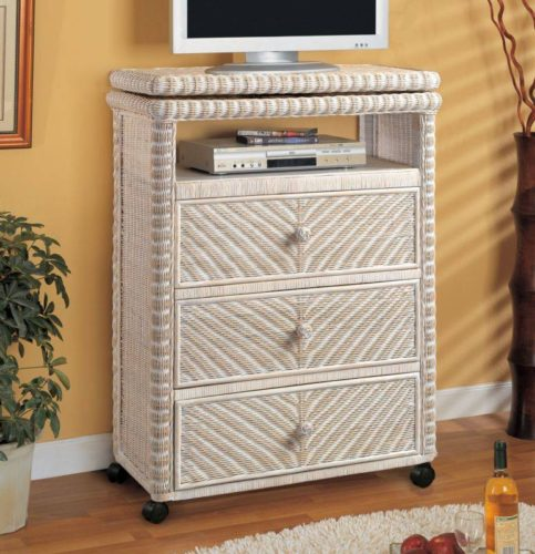 Santa-Cruz tv stand white Wicker Rattan Coastal