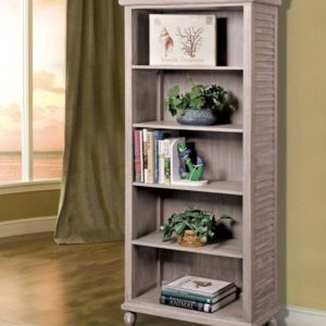 Tortuga office bookcase distressed driftwood coastal casual