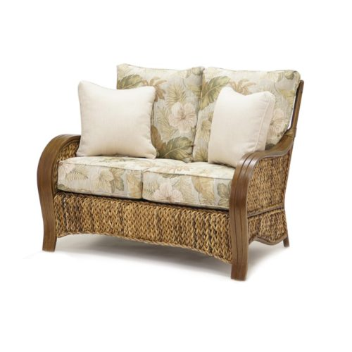 Maui love seat living room woven rattan tropical casual