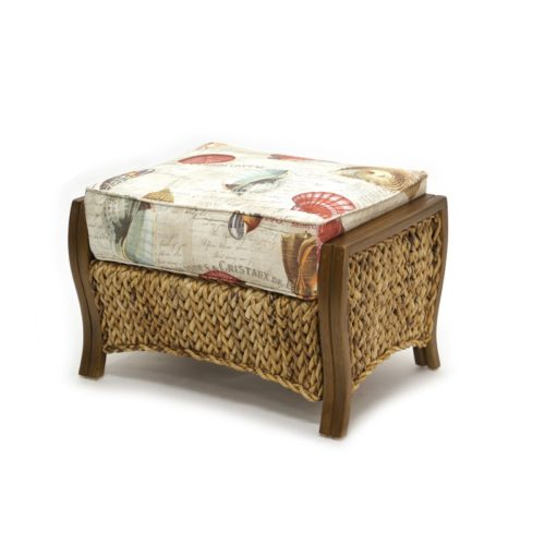 Maui ottoman living room woven rattan tropical casual