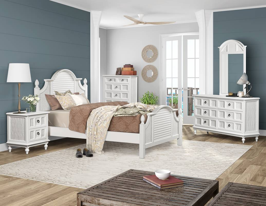 Key-West-Bedroom-with-wicker-and-shutter-with-a-coastal-look