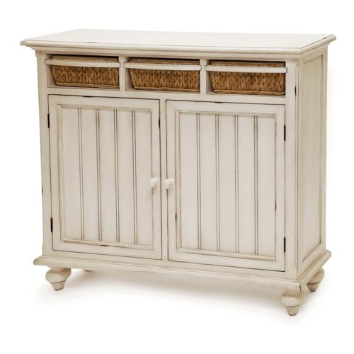 Monaco-distressed-white-wood-cabinet-with-baskets-