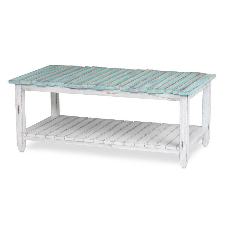 Distressed Blue Coffee Table: Picket Fence Coffee Table - Bleu