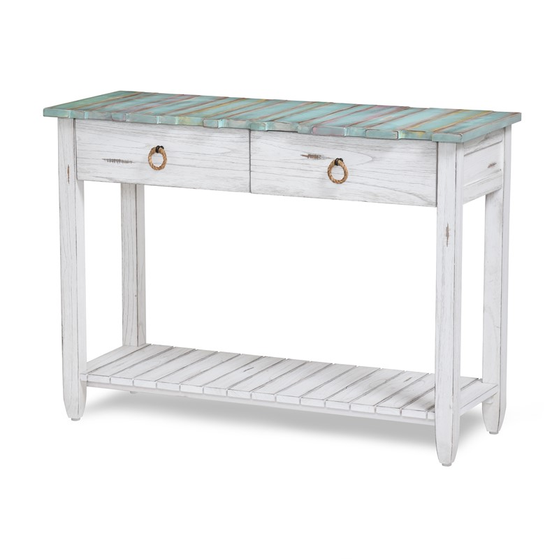 B78204 DBLEUWH Console Table Sea Winds Trading Co  : Picket Fence distressed coastal blue console table from www.seawindstrading.com size 800 x 800 jpeg 53kB