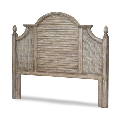 Key-West-WP-Distressed-brown-Headboard-with-shutter-and-wicker