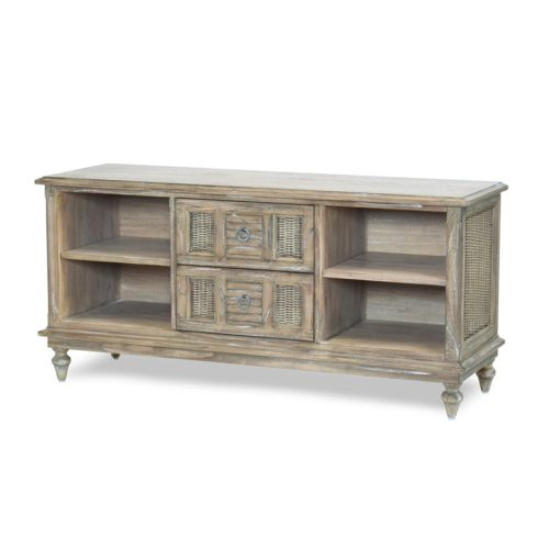 Key-West-WP-Distressed-brown-entertainment-center-tv-stand-with-shutters-wicker-living-room