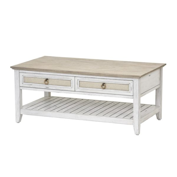 Captiva-Island-casual-distressed-coffee-table-with-fabric