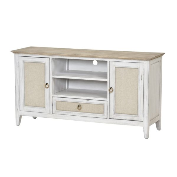 Captiva-Island-casual-distressed-entertainment-center-with-fabric