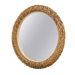 Maui woven mirror living room woven rattan tropical casual