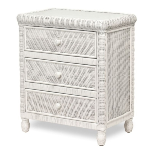 Santa-Cruz-three-drawer-chest-Wicker-Tropical-white-finish