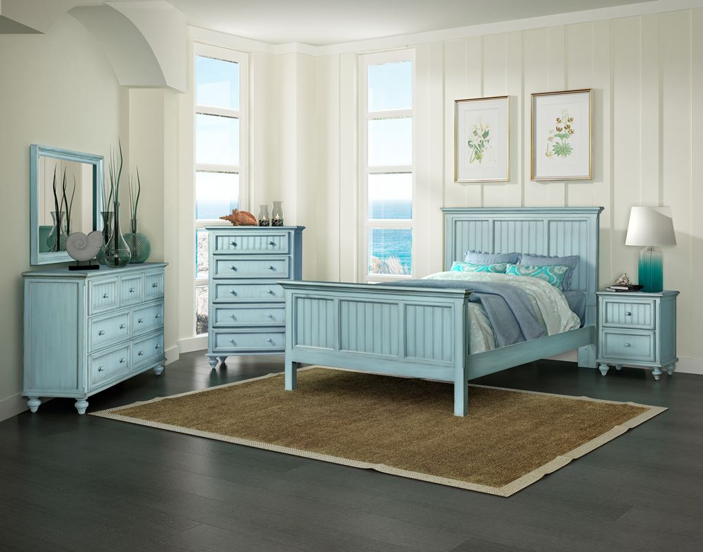 monaco casual bedroom collection bleu sea winds 11146 | monaco blue coastal casual distressed bedroom furniture with grey shadow