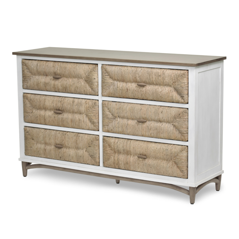 Port-Royale-6-Drawer-Dresser-brown-White-Weave-wood-Coastal-bedroom-casual