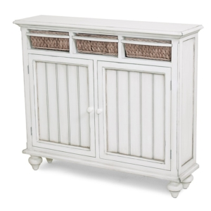 Monaco-white-entry-cabinet-with-woven-baskets-for-a-coastal-decor