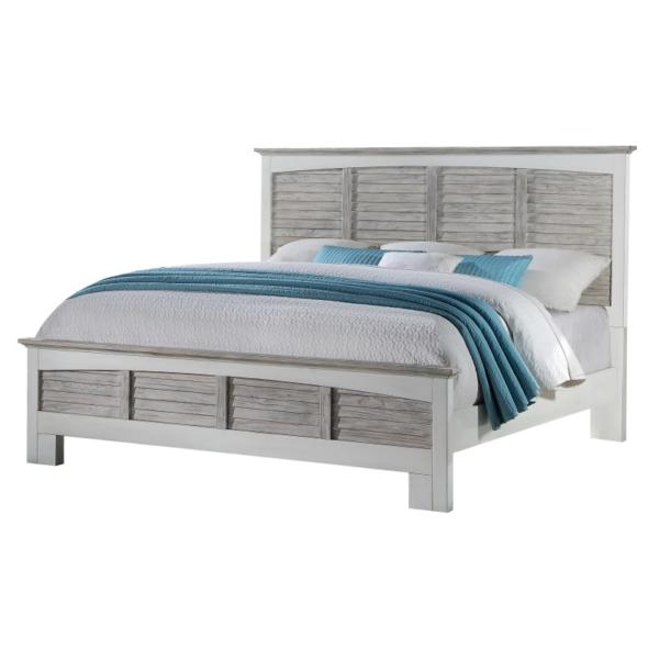 Islamorada-casual-coastal-bed-gray-and-white-with-shutters
