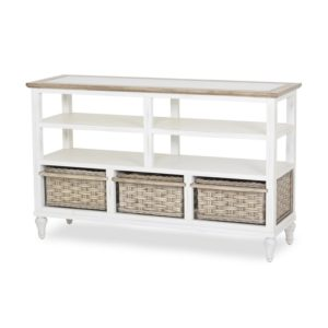 Island-Breeze-woven-basket-entertainment-center-weathered-white-finish