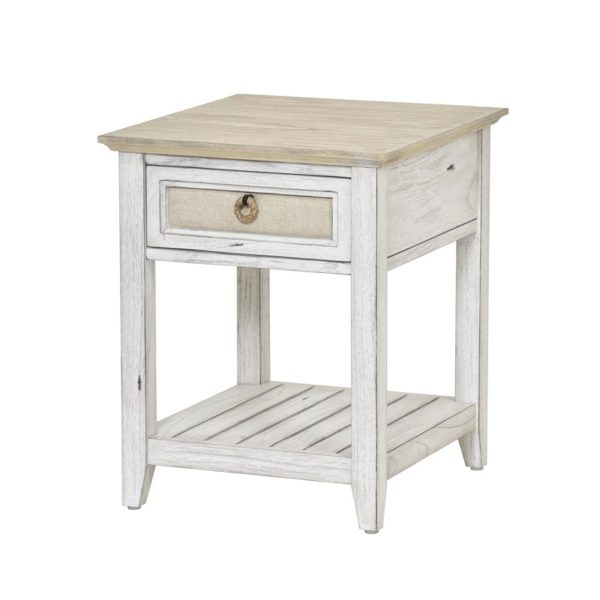 Captiva-Island-casual-distressed-end-table-with-fabric