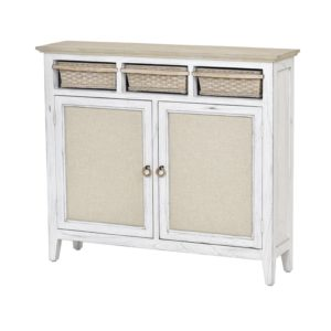 Captiva-Island-casual-distressed-entry-cabinet-with-baskets-and-fabric