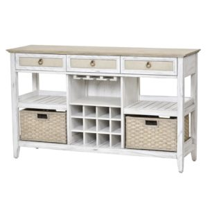 Captiva-Island-casual-distressed-sideboard-with-wine-rack-and-fabric