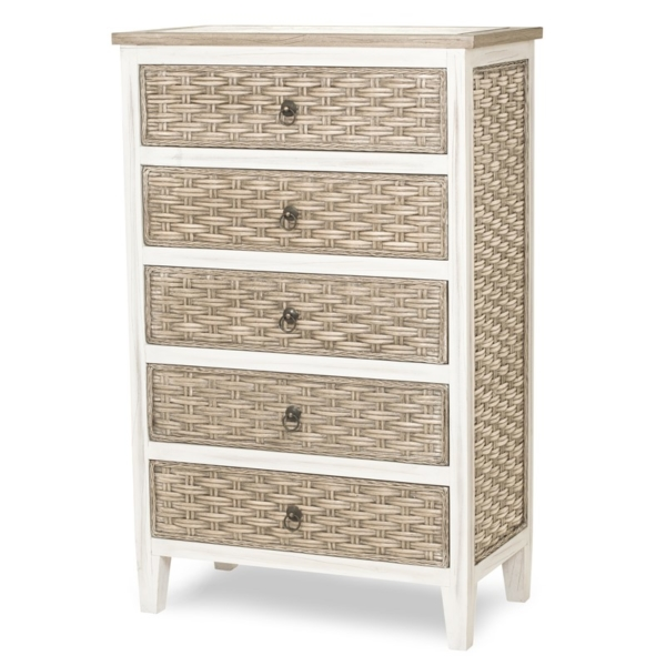 Sea-Breeze-Tropical-Woven-5-drawer-chest-in-two-tone-finish