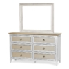 Captiva-Island-Six-Drawer-Dresser-horizontal-mirror-coastal-distressed-tan-white-wood-rope-pulls
