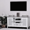 Captiva-Island-casual-distressed-entertainment-center-with-gray-fabric-cable-access-two-tone-storage