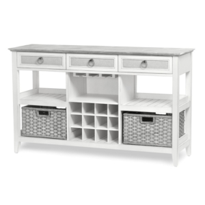 Captiva-Island-casual-distressed-sideboard-with-wine-rack-stemware-gray-fabric-rope-pulls