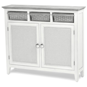Captiva-Island-coastal-distressed-entry-cabinet-with-baskets-and-gray-fabric-rope-pulls