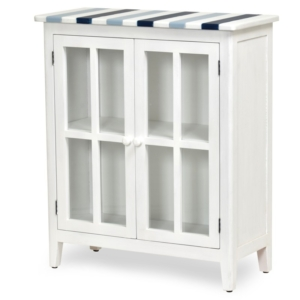 Nantucket-Coastal-Nautical-decor-living-room-entry-cabinet-navy-blue-white-and-glass-door